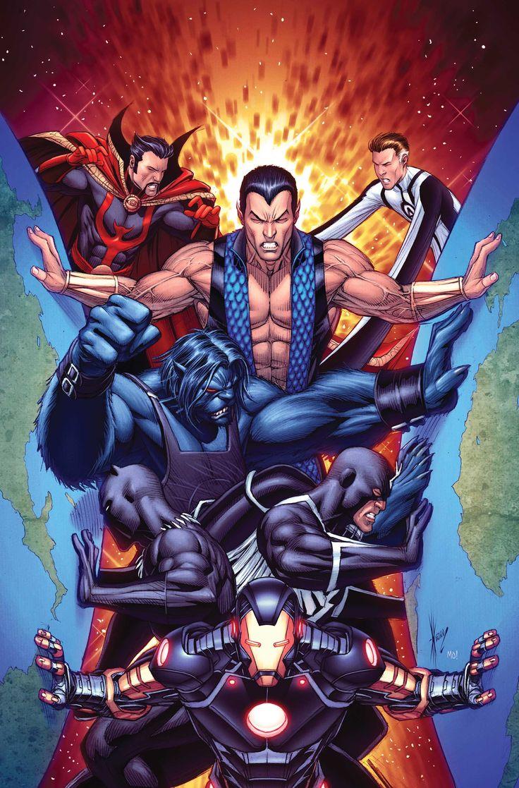 New Avengers: Dr Strange, Namor, Mr Fantastic, Beast, Blackbolt & Iron Man by Dale Keown (Marvel comics)