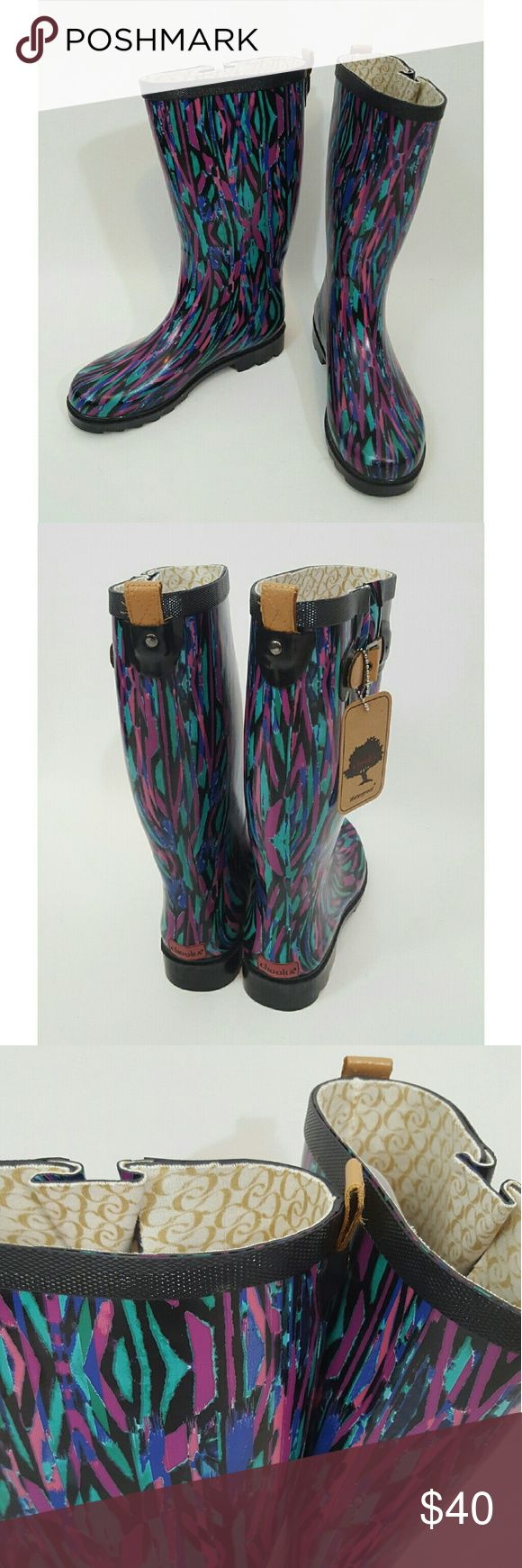 Chooka pattern rubber rain boots NEW size 8 NEW with tags Chooka brand rubber rain boots.  Size 8 women. chooka Shoes Winter & Rain Boots