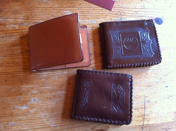 130 kr. vintage leather wallet embossed  southwestern by stockintrade