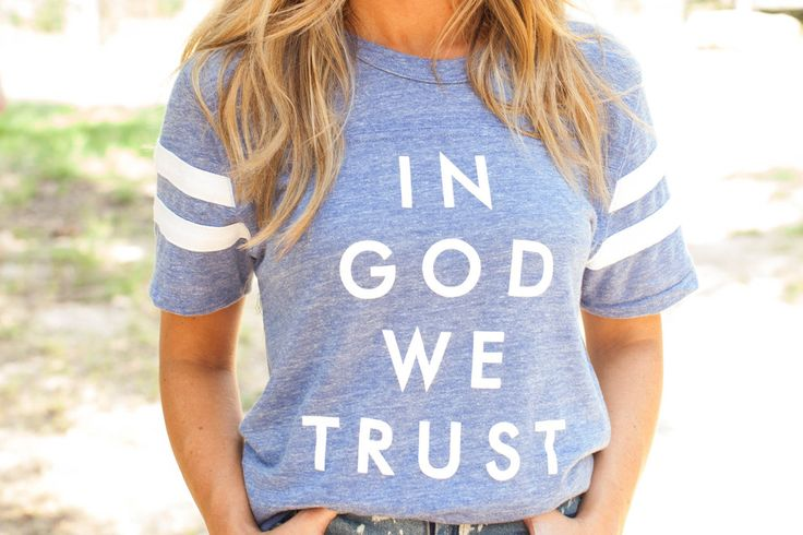 in god we trust blue tee – The Light Blonde