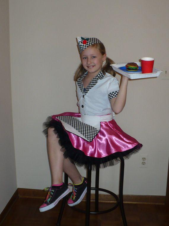 girls 50s car hopdiner waitress costume size 78 six piece set