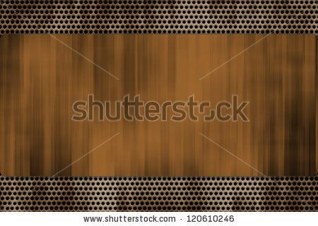 Grill Pattern Riveted to Brushed Steel Background