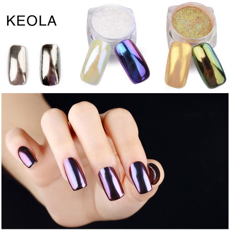 Keola 1グラム/ポット11色ミラーグリッターネイルアートパウダー爪ダストdiy光沢のあるクローム顔料グリッター用ネイルグリッターネイル先端
