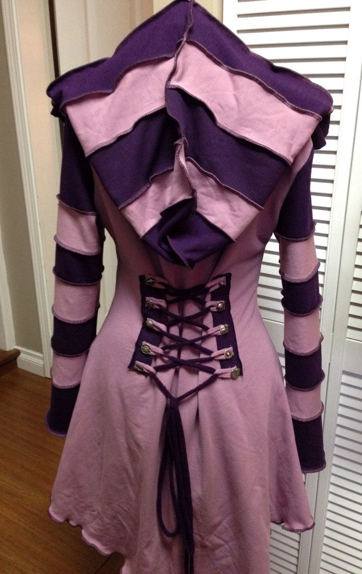 Cheshire Cat purple pink corset laced festival hoodie fairytale Faye Tality Couture by FayeTalityCouture on Etsy https://www.etsy.com/listing/222267936/cheshire-cat-purple-pink-corset-laced
