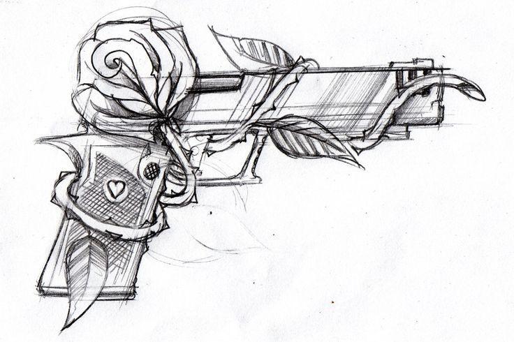 Rose und Pistole Tattoo