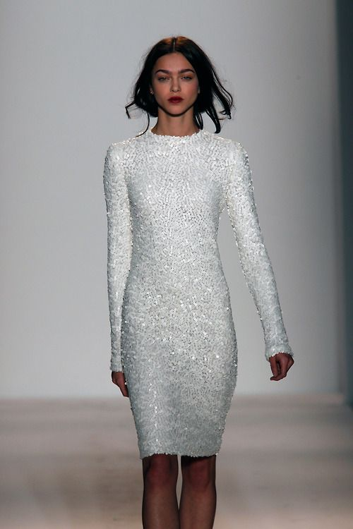 wgsn:We want this gorgeous white sequin dress from @Rachel Zoe! #NYFW