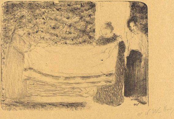 Édouard Vuillard - Folding the Linen, 1893