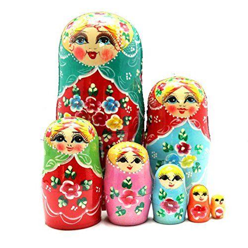 Wannabi Novelty Toys Nesting Dolls Russian Madness Matryoshka Hoodie Set of 7, Birthday Gifts Children Toys, Home Decor, Varnish Clear Coating