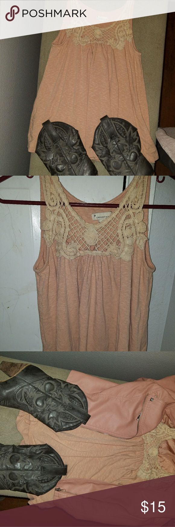 Flowy strapless top Really cute with cowboy boots and shorts!or straight leg pants heels and my jacket also for sale  Very flattering! Forever 21 Tops