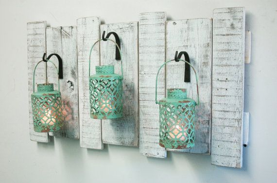 Shabby Turquoise Lanterns on upcycled wood by PineknobsAndCrickets