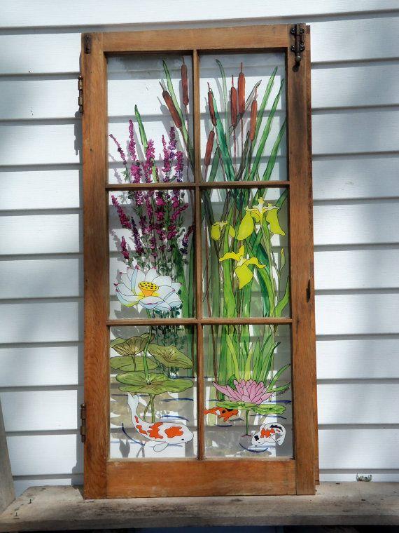 Painted Vintage Window Water Garden