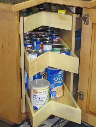 Organize that corner cabinet with the KornerKing corner cabinet solution. Replaces the old fashioned lazy susan. Center section drawers pullout for most used items and unit rotates for side storage. Easy retrofit for existing kitchen makeover.