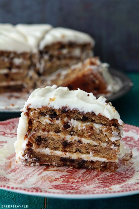 Chocolate Chip Banana Cake with Cream Cheese Frosting via Bakers Royale