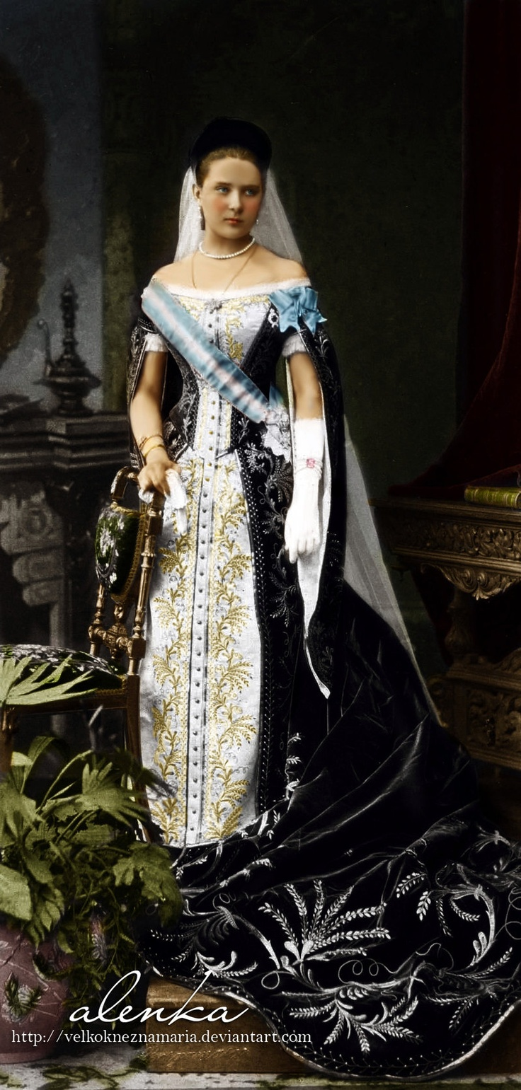 Princess Zinaida Nikolaevna Yussupova (1861-1939) - Stunning court gown with blue velvet, colorized photograph