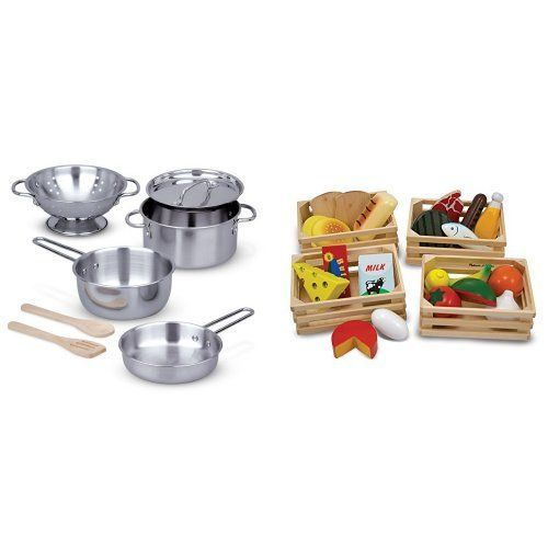 Melissa & Doug Food Groups & Pots and Pans Bundle...