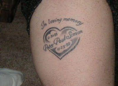 Tatuaje de un corazón in memoriam