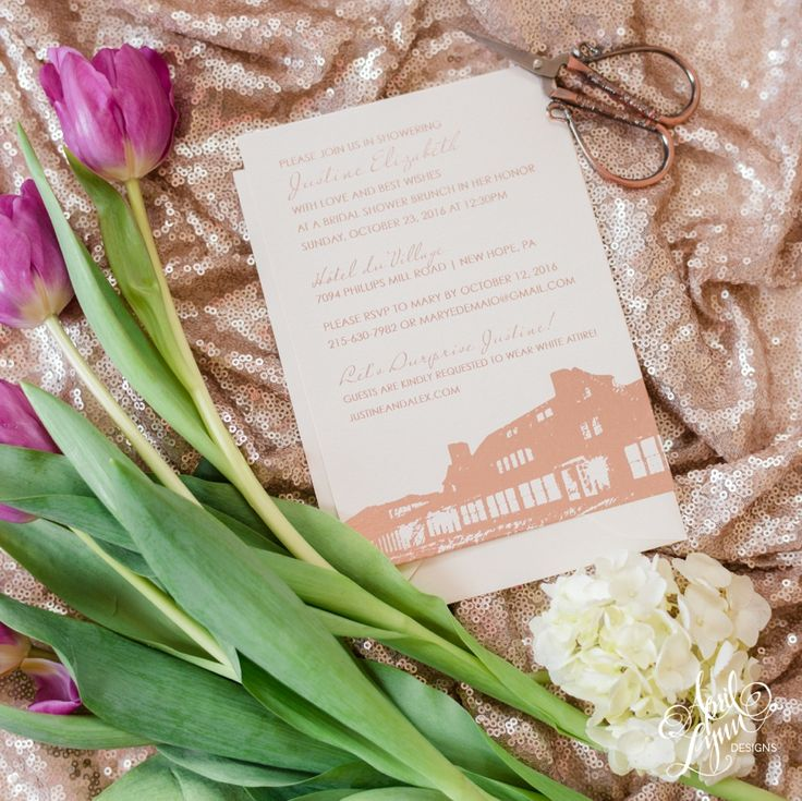 tulip wedding invitation templates%0A April Lynn Designs Rose Gold Foil Bridal Shower Invitation  Hotel Du  Village  New Hope