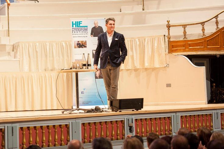 Levison Wood on stage at HLF pre event at Huddersfield Town Hall