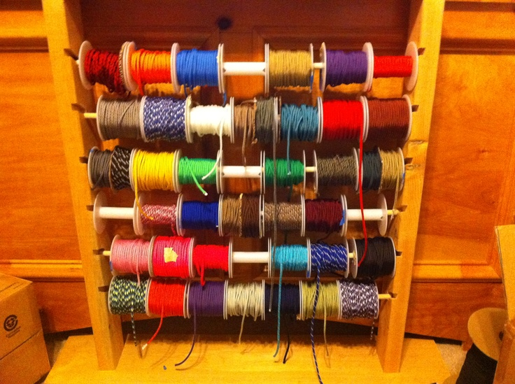"""I have acquired over 42 colors.  and built a nice little organization rack.  Each spool is about 200' - menaing I can literally say I have a Mile of 550Lb Mil-Spec Paracord """"laying around the house"""""""