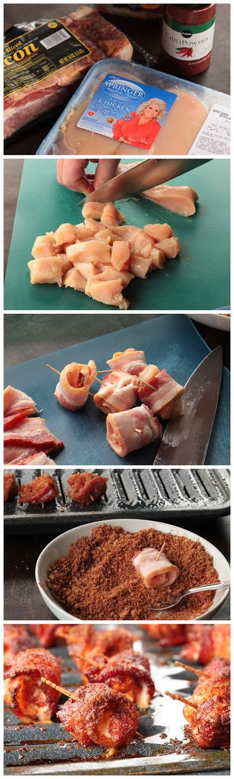 Sweet Bacon Wrapped Chicken Bites - Ingredients: 1 1/4 lbs boneless skinless chicken breasts (about 4) .... 1 lb sliced bacon .... 2/3 cup firmly packed brown sugar ... 2 tbs chili powder ....