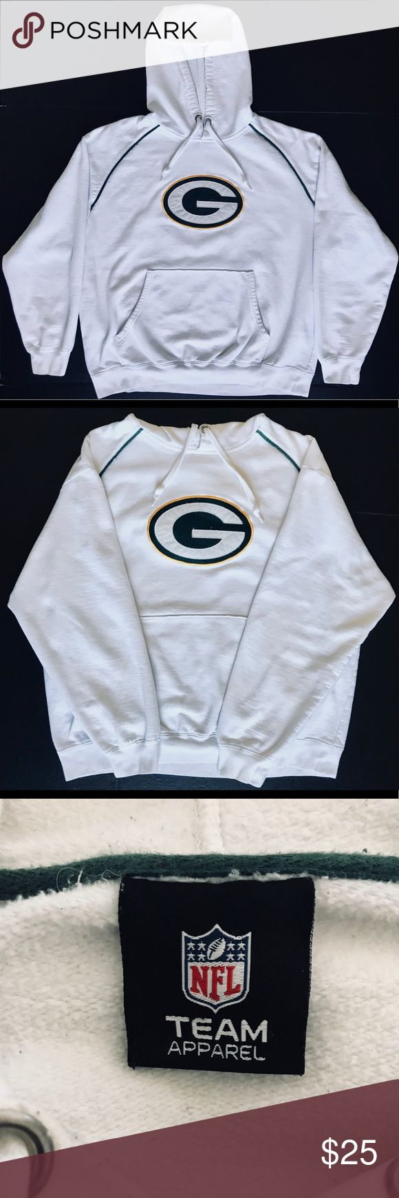 "NFL Team Apparel - GB Packers - Hoodie Pullover Gently Worn. Excellent Condition. Washed and Clean from a smoke free home. No visible signs of rips, tears, stains or holes. Hoodie is not removable. Packers ""G"" logo has normal cosmetic wear due to use and laundering. Due to maintenance tag under NFL logo tag being cut off and based on measurements, sizing may be inaccurate. Please take the time to take your own comparison measurements before ordering.   Jacket Measurements: 23"" Wide (Pit to…"