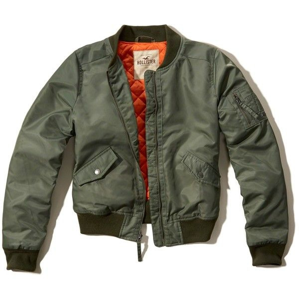 Hollister Nylon Bomber Jacket ($70) ❤ liked on Polyvore featuring outerwear, jackets, olive, army green bomber jacket, logo jackets, bomber jacket, nylon flight jacket and green military jacket