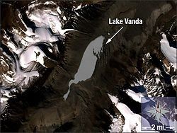 Lake Vandais alakeinWright Valley,Victoria Land,Ross Dependency,Antarctica. The lake is 5km long and has a maximum depth of 69m.[2]On its shore,New ZealandmaintainedVanda Stationfrom 1968 to 1995. Lake Vanda is ahypersalinelake with a salinity more than ten times that of seawater,[3]more than the salinity of theDead Sea, and perhaps even more than ofLake Assal (Djibouti), which is the world's most saline lake outside of Antarctica.