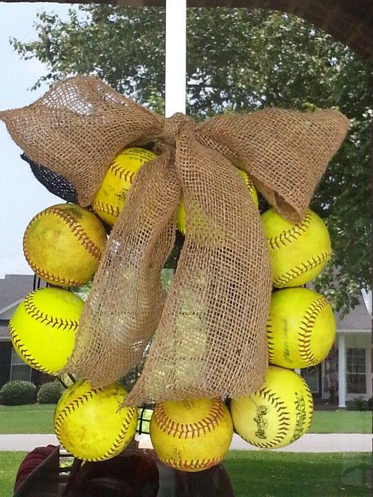 Softball wreath for summer.: Softball Wreath