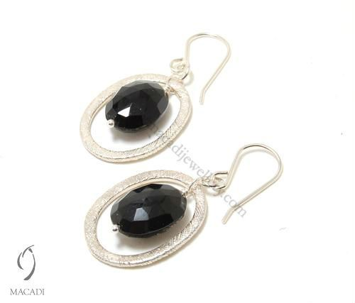 Feathered Circle Earrings with Black Onyx