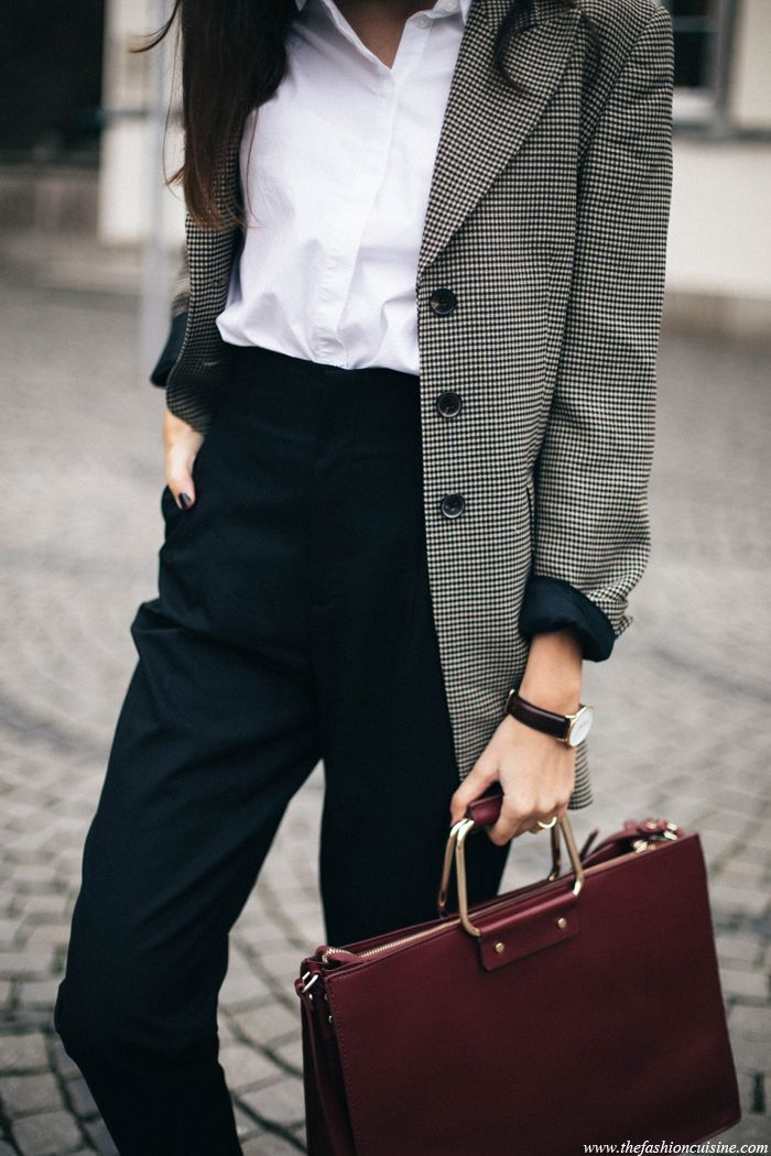 checked blazer - white shirt - black pants   the fashion cuisine