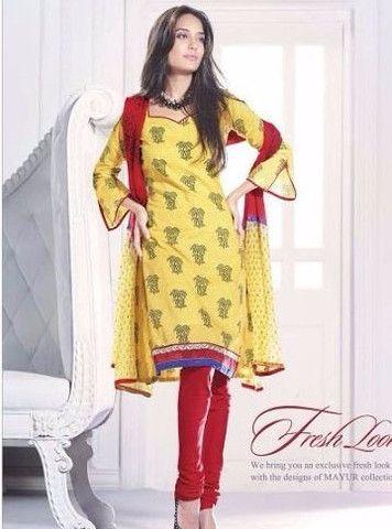 Mayur 3633 - Yellow Color Cotton Designer Suit