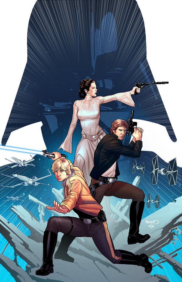 Star Wars comic (Marvel) - Princess Leia, Luke Skywalker and Han Solo in front of Darth Vader