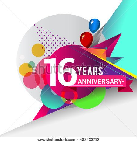 16 years Anniversary logo, Colorful geometric background vector design template…