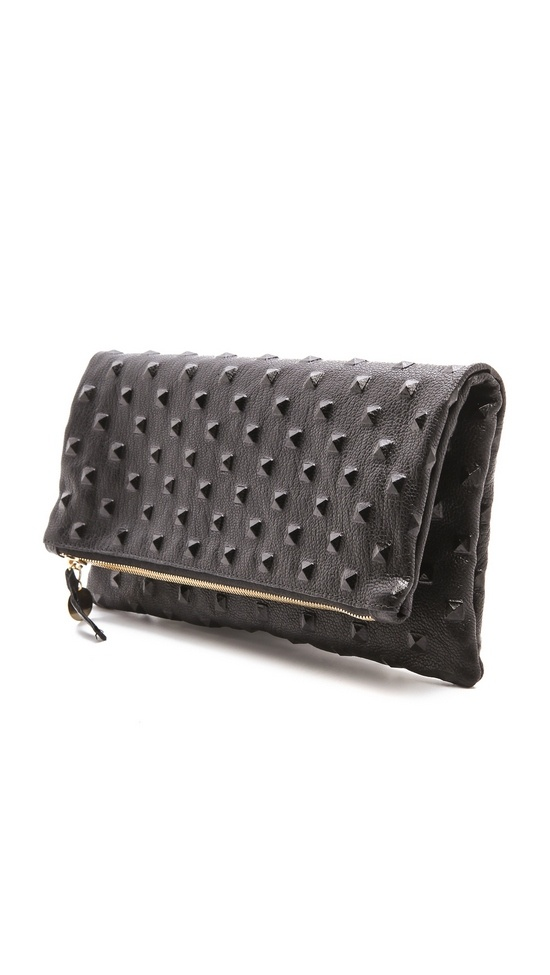 Clare Vivier Studded Fold Over Clutch