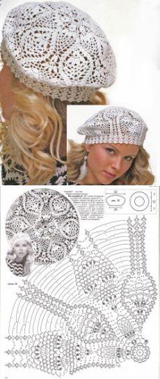 Ажурный летний берет, схема вязания крючком   ВЯЗАНИЕ ШАПОК: женские шапки спицами и крючком, мужские и детские шапки, вязаные сумки