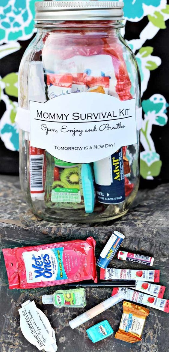 Homemade DIY Gifts in A Jar | Best Mason Jar Cookie Mixes and Recipes, Alcohol Mixers | Fun Gift Ideas for Men, Women, Teens, Kids, Teacher, Mom. Christmas, Holiday, Birthday and Easy Last Minute Gifts | DIY Gift in a Jar Mommy Survival Kit |  http://diyjoy.com/diy-gifts-in-a-jar