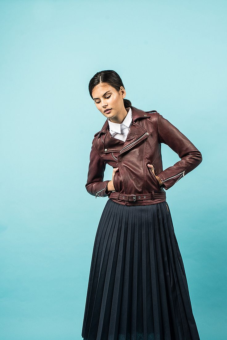 Sartorialism - Womens Lookbook - By Cassie, Ray Ranoa and Danielle Lamy. Black, Green and Oxblood Red Quilted Lambskin Leather Jacket - VIPARO