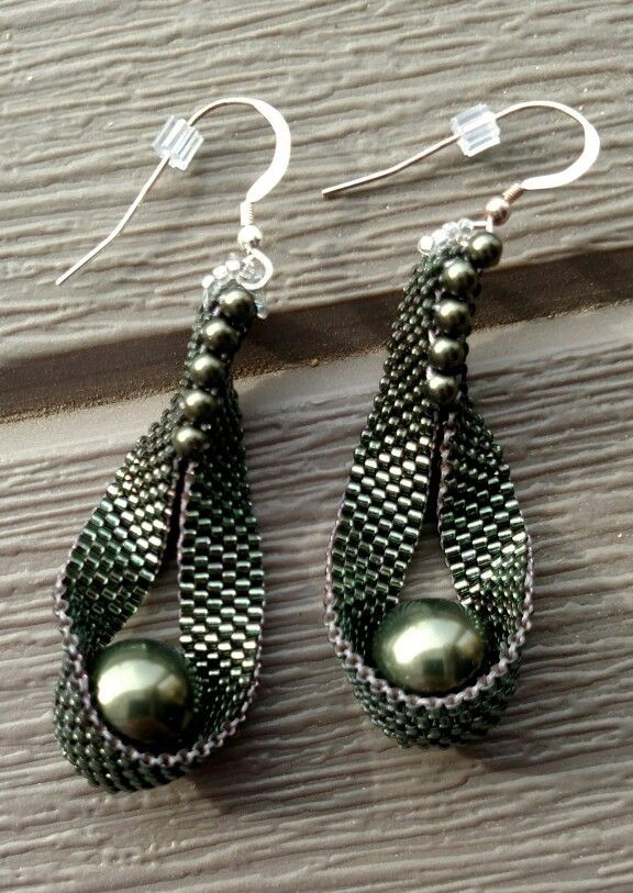 "Pea in a pod: Swarovski pearls, 2.5"" long. 925 ear wires"