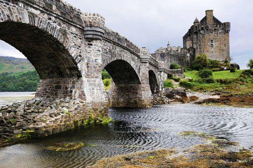 Side view of Eilean Donan castle, Scotland