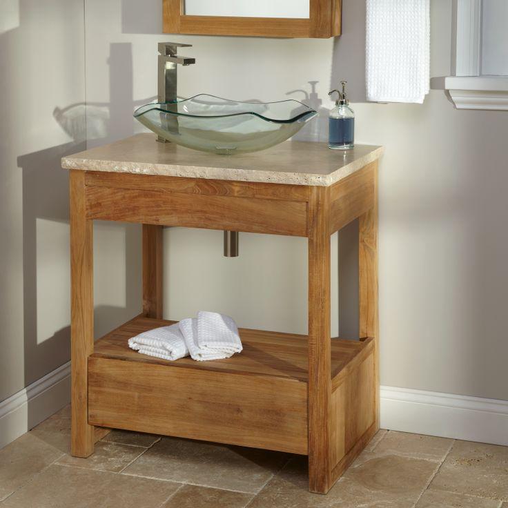 small sink vanity for small bathrooms%0A      Rhea Teak Vessel Sink Vanity  Guest bathroom