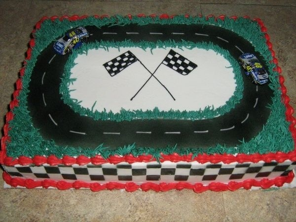 racing cake 1 4 sheet iced in buttercream with chocolate