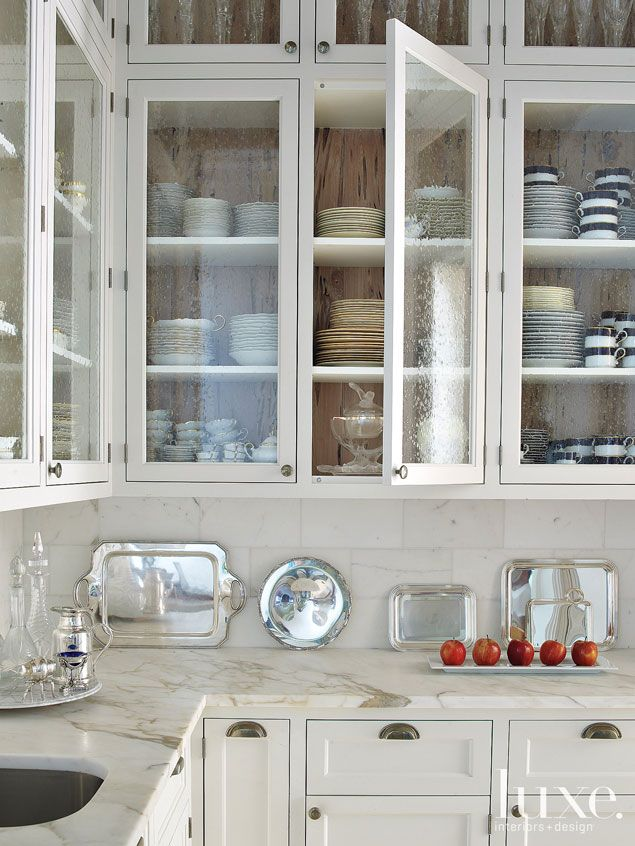 glass front cabinets...i want a white and wood kitchen! maybe?