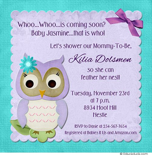 "These purple and gray baby owl shower invitations are the perfect way to invite family and friends to celebrate ""whoo"" is coming soon! Description from lilduckduck.com. I searched for this on bing.com/images"