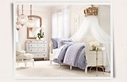 Restoration Hardware little girl's room. Love the crown day bed curtain holder!