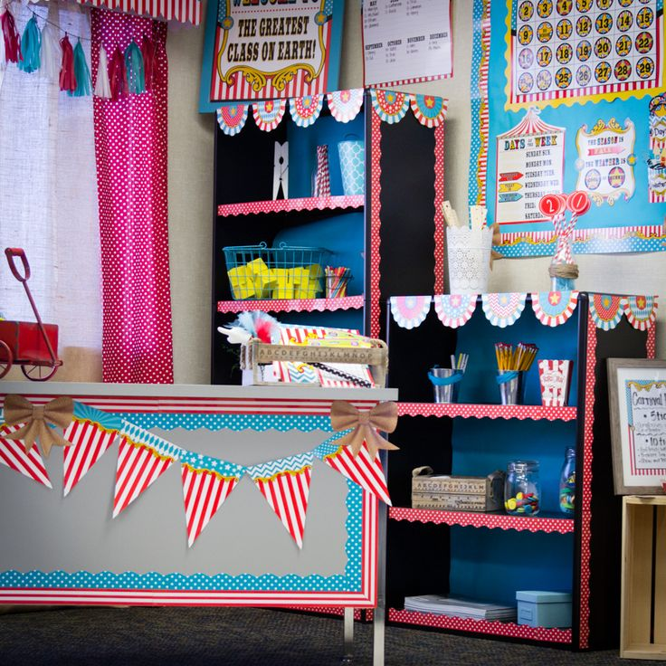 Carnival Themed Classroom from Teacher Created Resources - The Carnival Classroom Collection from Teacher Created Resources is sure to add a ton of fun and vibrancy to and classroom or space!  Features teal polka dots, classic red and white stripes of the big tent, gold accents and so much more fun!