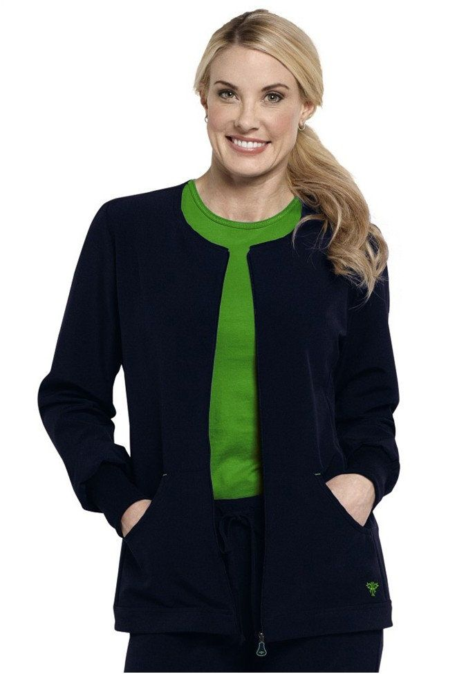 Med Couture's Bonded Fleece Med Tech Jacket features a dual purpose zipper pull and a sporty collar. Med Couture designs, manufactures, and markets cutting-edge, fashion-forward scrubs for the health care industry, featuring high-quality clothing that looks good and make you feel good wearing them.