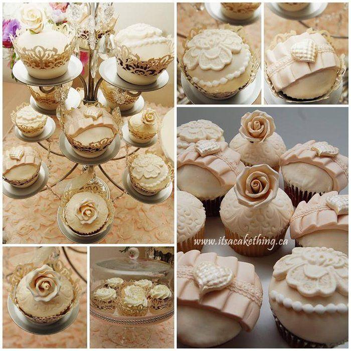 Cupcake elegance - by itsacakething @ CakesDecor.com - cake decorating website #communion #confirmation #birthday #engagement #cake #cakes #vintage #wedding #floral #stencil #damask #bow #champagne #ivory #lacelook #itscakething #lacey #lace #victoriancupcakes #Victorian #roses #heart #marinasousastencil #marvelousmoldsstencil