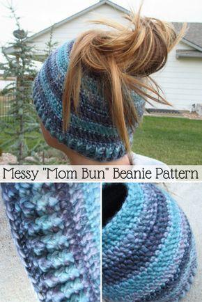 Messy Mom Bun Beanie Crochet Padrão