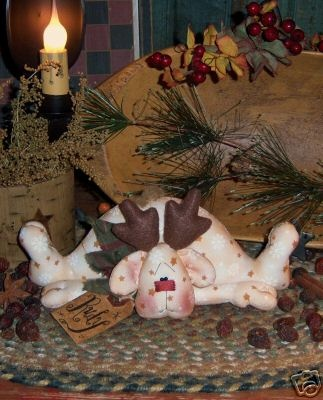 Primitive Christmas Reindeer Folk Art Doll Pattern #223