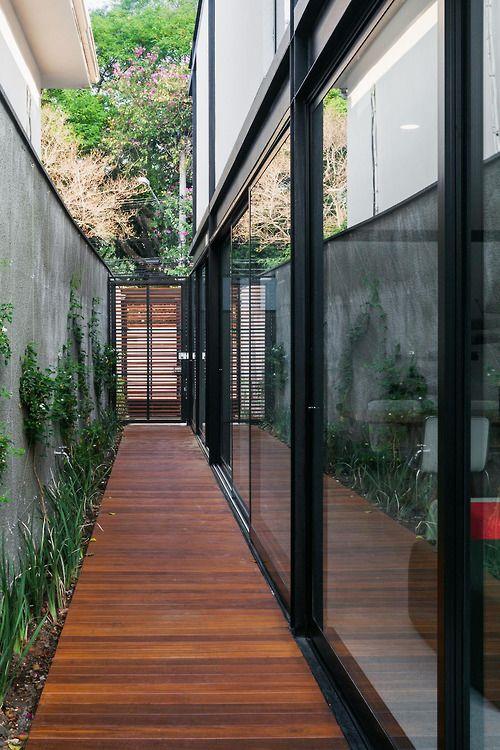 inside outside - wood, glass, planted wall